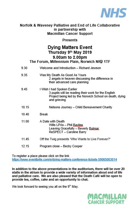 Dying maters Event 9.5.19