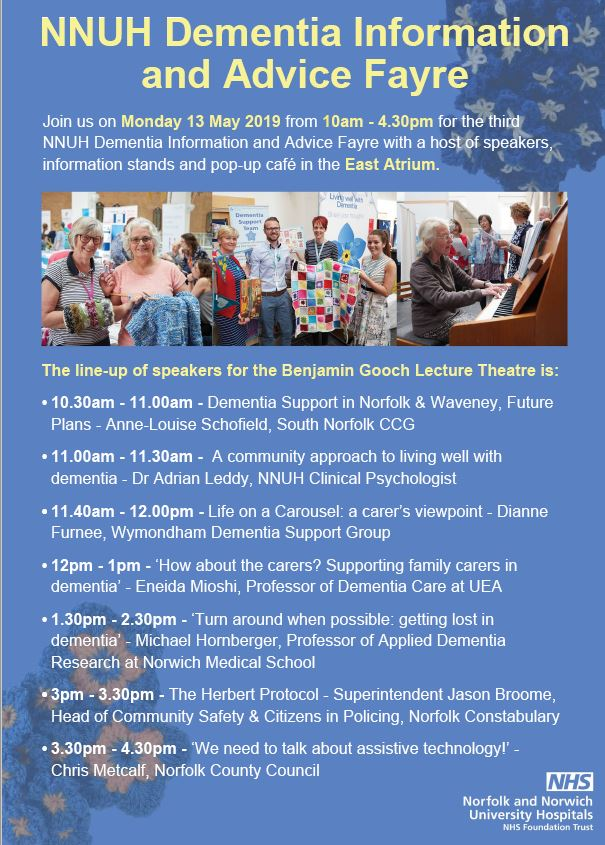 NNUH Dementia Information and advice fayre 20.3.19