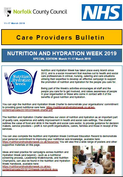 Nutrition and Hydration Week 11 March 2019